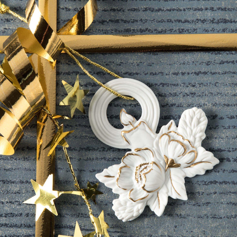 Weihnachtsanhänger, Kerze, Christrose