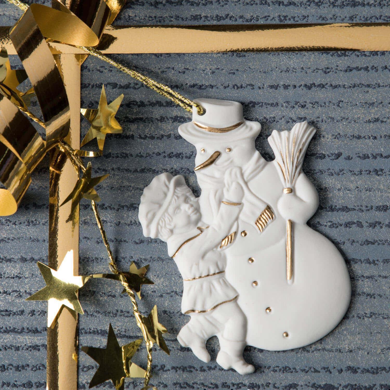 Weihnachtsanhänger, Junge, Schneemann