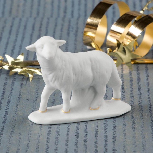 """Krippenfigur """"Schaf, stehend"""" aus Bisquitporzellan"""