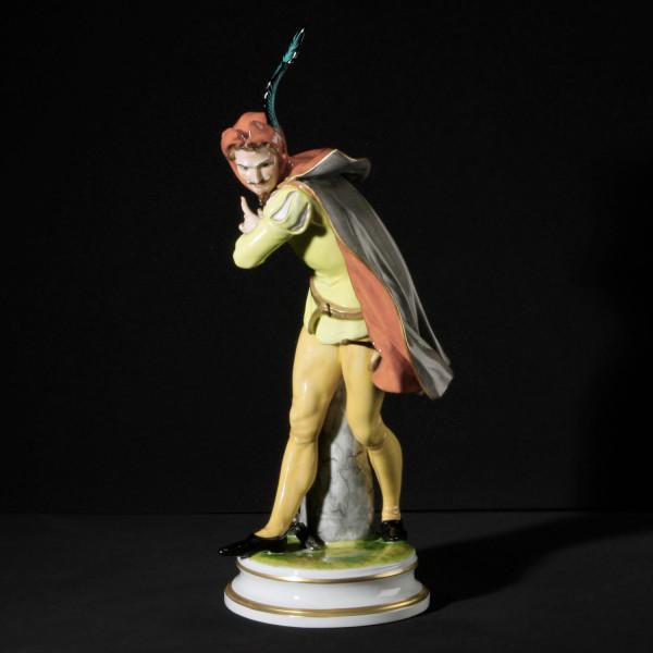 """Porzellanfigur """"Mephisto"""" aus glasiertem Porzellan, farbig dekoriert"""
