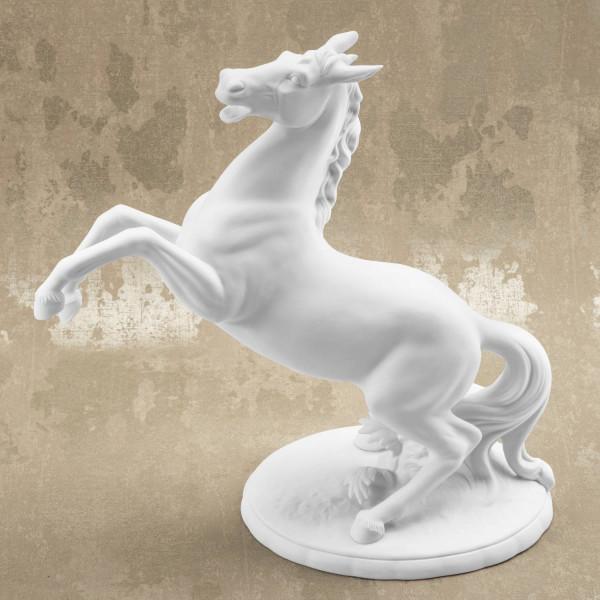 """Porzellanfigur """"aufbäumendes Pferd""""- Pferdefigur aus Bisquitporzellan"""