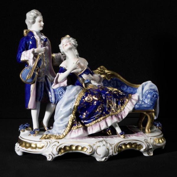 """Porzellanfigur """"Die Musik-Stunde"""" aus glasiertem Porzellan, farbig dekoriert"""