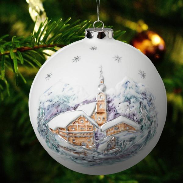 """Weihnachtskugel """"Kirche, Marterl"""" Weihnachtsschmuck aus Bisquitporzellan"""