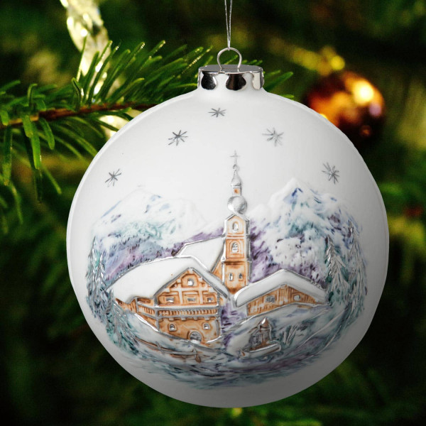 "Porzellan Weihnachtskugel ""Kirche, Marterl"""