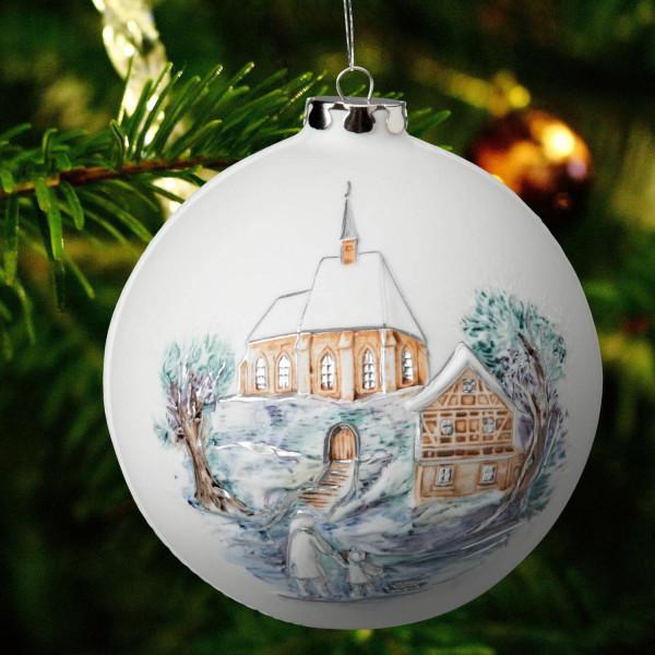 """Porzellan Weihnachtskugel """"Kirchgang, Marterl"""""""