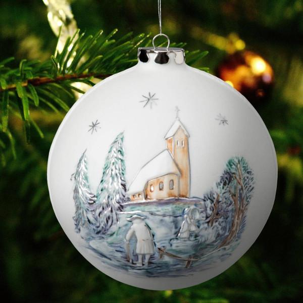 """Porzellan Weihnachtskugel """"Kirchgang, Kapelle"""""""