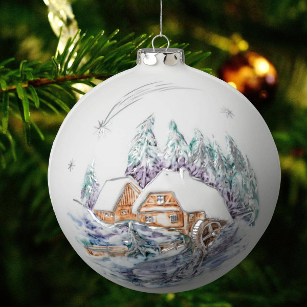 """Weihnachtskugel """"Alte Mühle, Dorfkirche"""" Weihnachtsschmuck aus Bisquitporzellan"""