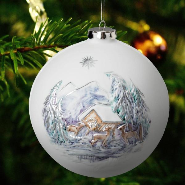 """Porzellan Weihnachtskugel """"Wildfütterung, Mühle"""""""