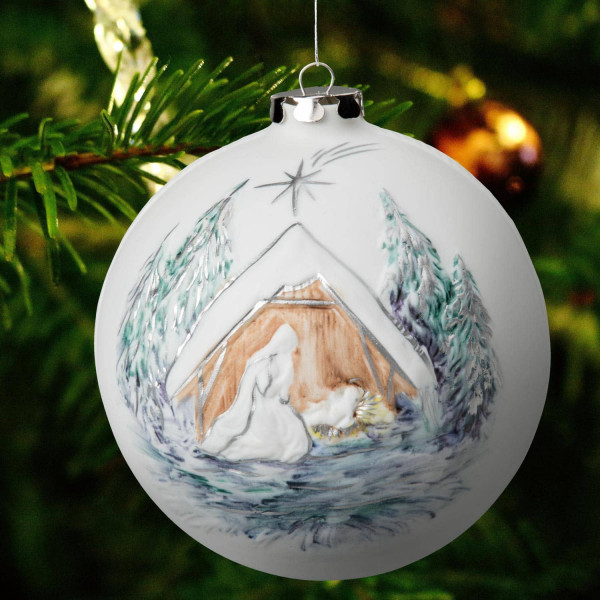 """Weihnachtskugel """"Maria, Kind und die Heiligen drei Könige"""" Weihnachtsschmuck aus Bisquitporzellan"""