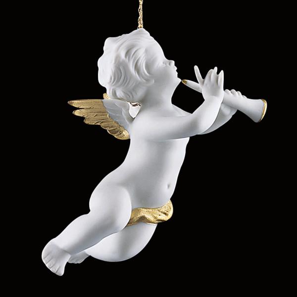 Weihnachtsschmuck Amorette mit Klarinette-Christbaumschmuck Engel aus Porzellan