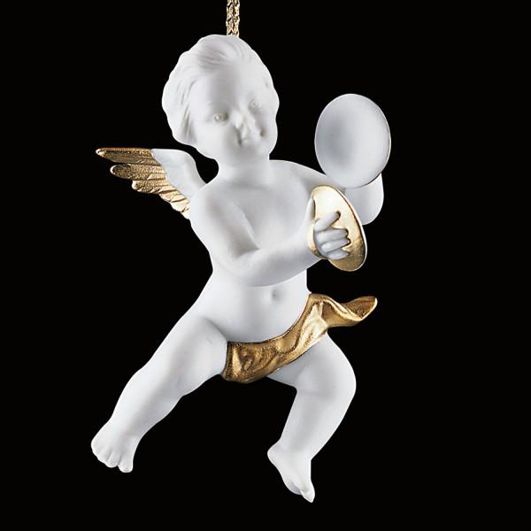 Weihnachtsschmuck Amorette mit Becken - Christbaumschmuck Engel aus Porzellan