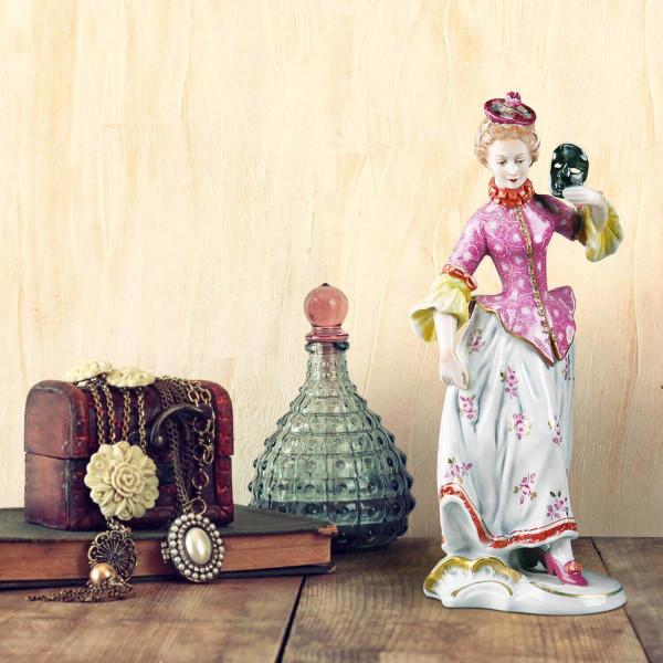 """Porzellanfigur """"Columbine"""" aus glasiertem Porzellan, farbig dekoriert"""