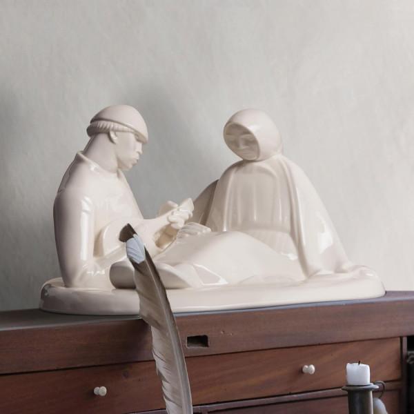 """Porzellanfigur """"Russisches Liebespaar"""" von Ernst Barlach aus glasiertem Porzellan"""