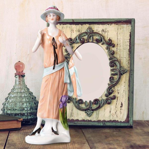 """Porzellanfigur Die 20er Jahre, """"Iris"""" aus glasiertem Porzellan, farbig dekoriert"""