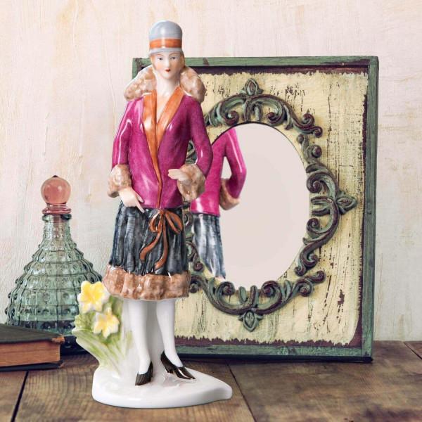 """Porzellanfigur Die 20er Jahre, """"Narzisse"""" aus glasiertem Porzellan, farbig dekoriert"""