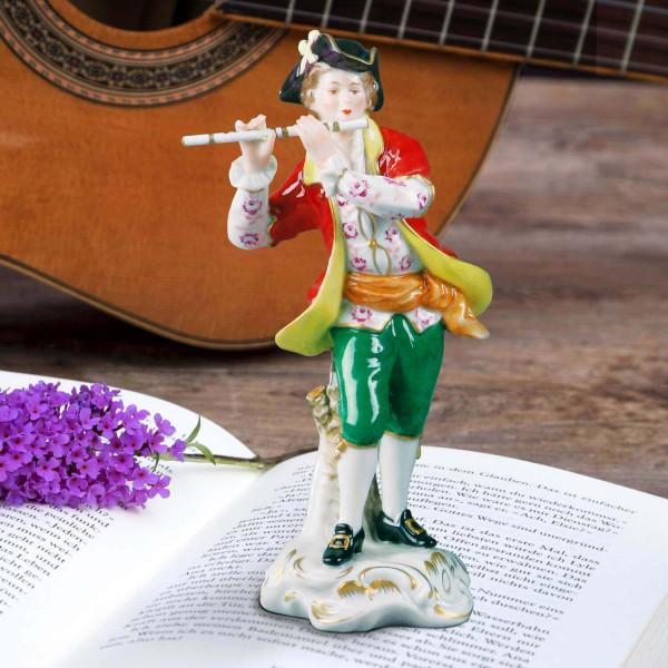 """Porzellanfigur """"Musiker, Blockflöte"""" aus glasiertem Porzellan, farbig dekoriert"""