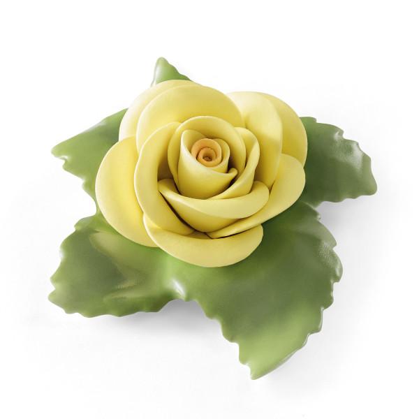 """Porzellanblume """"Rose (Gelb)"""" aus glasiertem Porzellan, farbig dekoriert"""