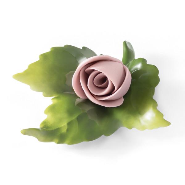 """Porzellanblume """"Knospe (rosa)"""" Blüte aus Bisquitporzellan, Blätter aus glasiertem Porzellan"""
