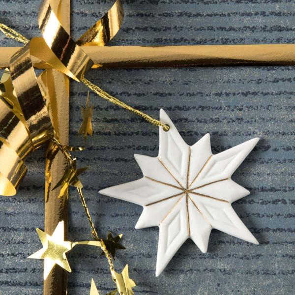 """Weihnachtsanhänger """"Schneekristall"""" 1BG - Weihnachtsschmuck aus Bisquitporzellan"""