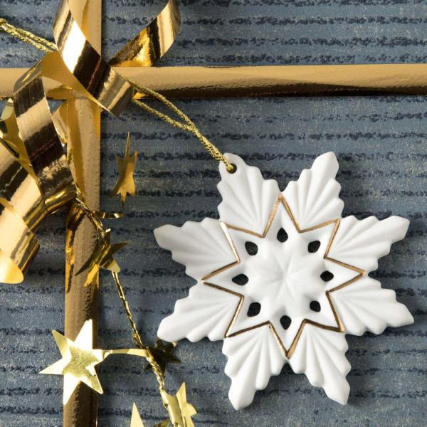 """Weihnachtsanhänger """"Schneekristall"""" 2BG - Weihnachtsschmuck aus Bisquitporzellan"""