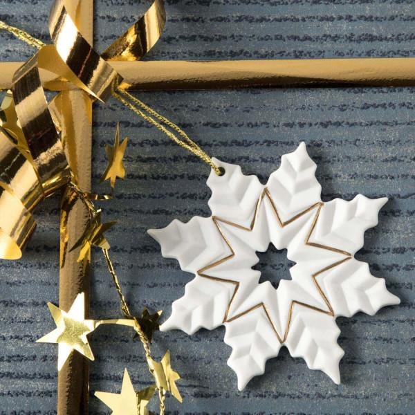 """Weihnachtsanhänger """"Schneekristall"""" 4BG - Weihnachtsschmuck aus Bisquitporzellan"""