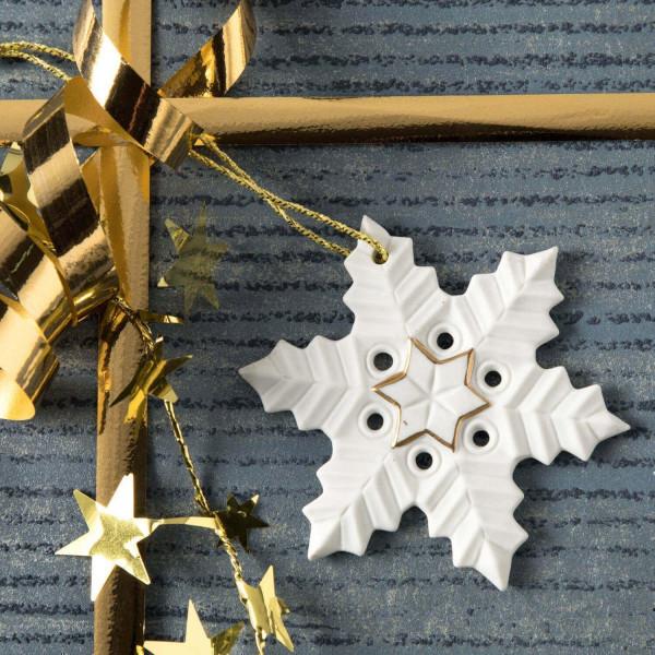 """Weihnachtsanhänger """"Schneekristall"""" 5BG - Weihnachtsschmuck aus Bisquitporzellan"""
