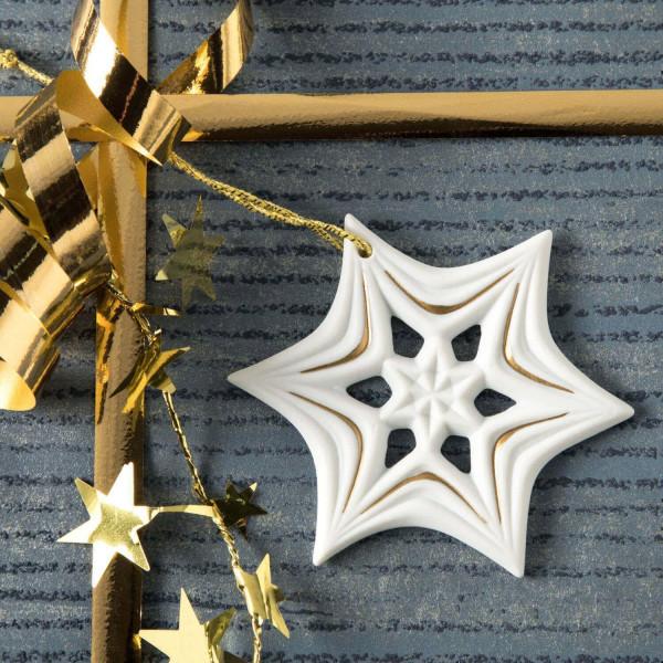 """Weihnachtsanhänger """"Schneekristall"""" 6BG - Weihnachtsschmuck aus Bisquitporzellan"""