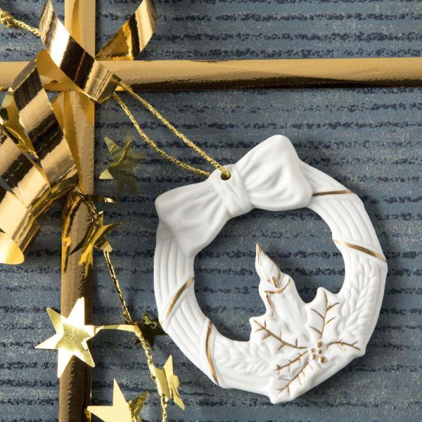"""Porzellan Weihnachtsanhänger """"Kranz, Kerze"""""""