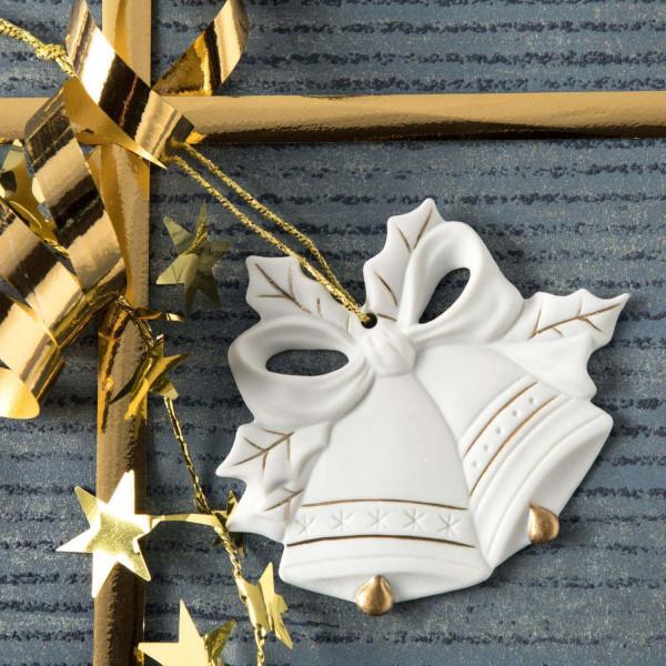 """Porzellan Weihnachtsanhänger """"Glocken, Schleife"""""""