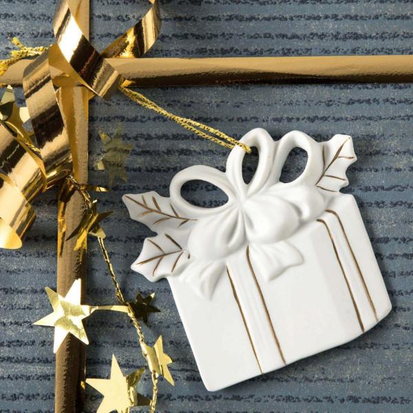 """Porzellan Weihnachtsanhänger """"Paket, Schleife"""""""