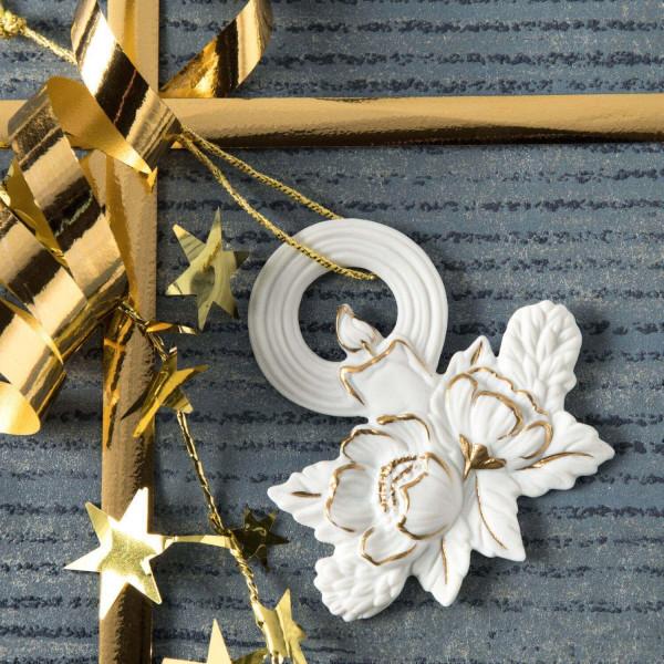 """Porzellan Weihnachtsanhänger """"Kerze, Christrose"""""""