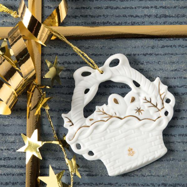 "Porzellan Weihnachtsanhänger ""Korb, Lebkuchen"""