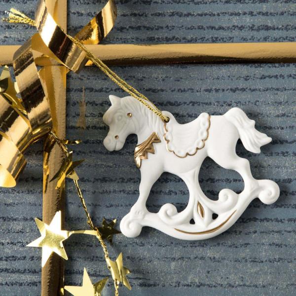 """Porzellan Weihnachtsanhänger """"Schaukelpferd"""""""