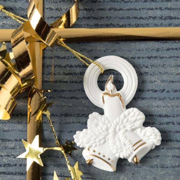 "Porzellan Weihnachtsanhänger ""Glocken, Kerze"""