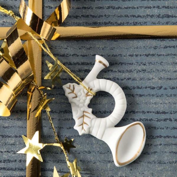 """Porzellan Weihnachtsanhänger """"Instrument Horn"""""""