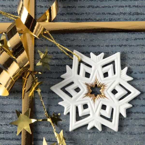 """Weihnachtsanhänger """"Stern, Schneeflocke"""" - Weihnachtsschmuck aus Bisquitporzellan"""