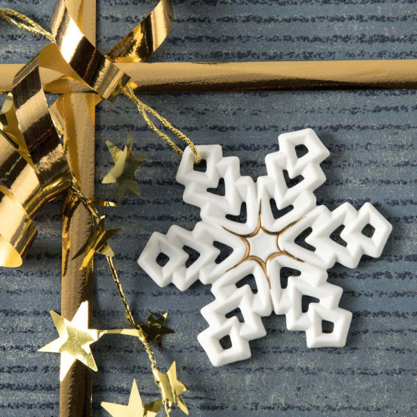"""Porzellan Weihnachtsanhänger """"Stern, Schneeflocke"""""""