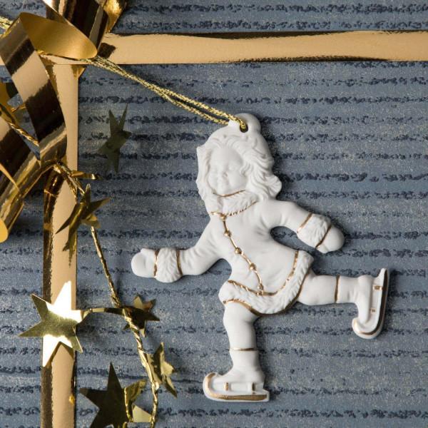 """Porzellan Weihnachtsanhänger """"Schlittschuhläuferin"""""""