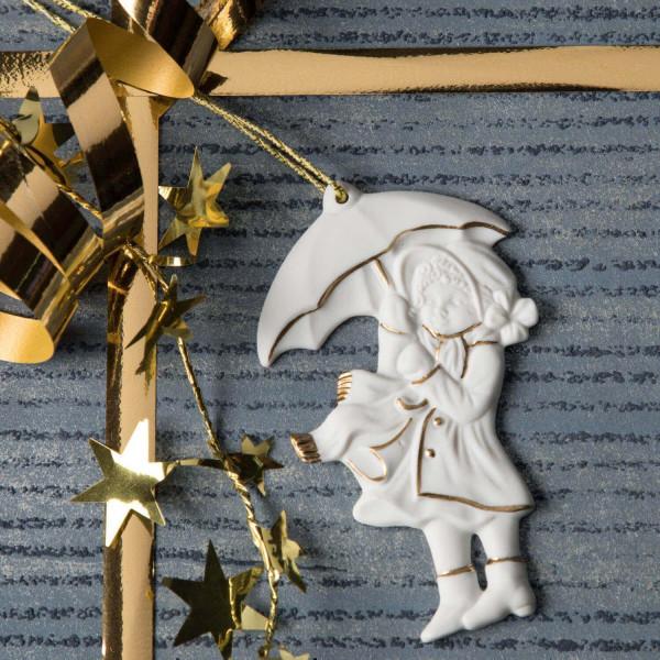"""Porzellan Weihnachtsanhänger """"Mädchen mit Schirm"""""""