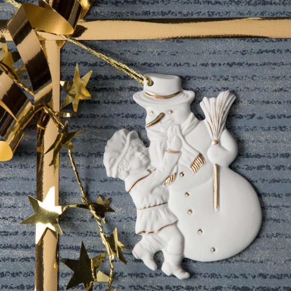 """Porzellan Weihnachtsanhänger """"Junge mit Schneemann"""""""