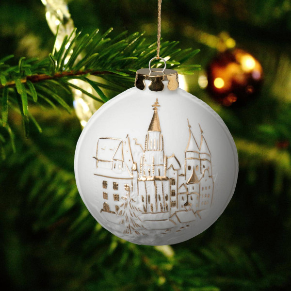 """Weihnachtskugel """"Markt von Nürnberg"""" - Christbaumkugel aus Bisquitporzellan"""