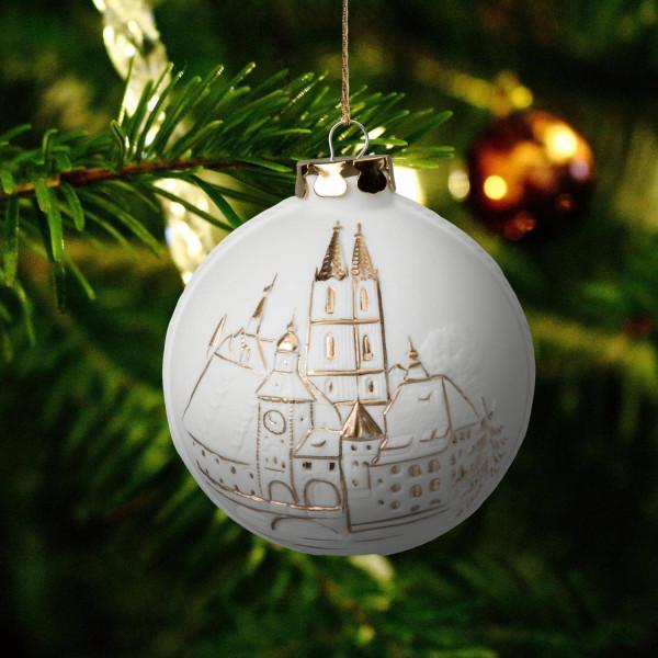 """Weihnachtskugel """"Regensburg"""" - Christbaumkugel aus Bisquitporzellan"""