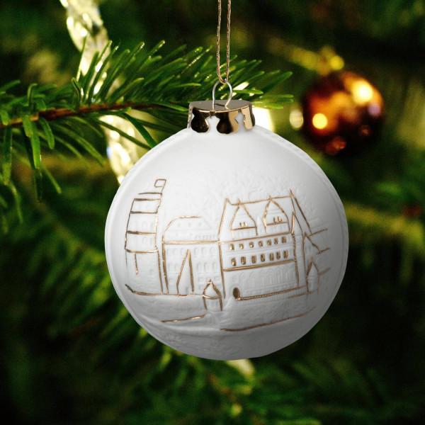 """Weihnachtskugel """"Heidelberg"""" - Christbaumkugel aus Bisquitporzellan"""