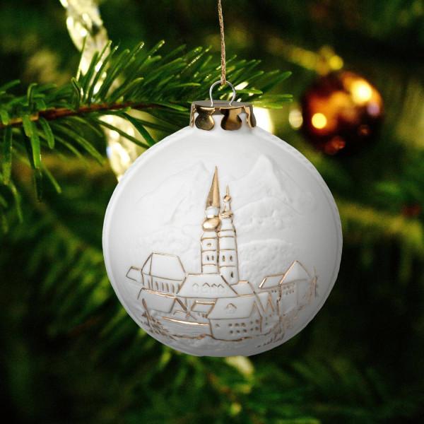 "Weihnachtskugel ""Berchtesgaden"" - Christbaumkugel aus Bisquitporzellan"