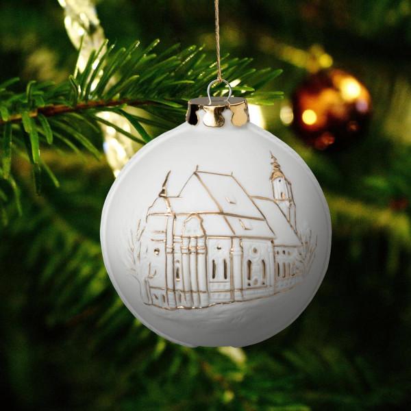 """Weihnachtskugel """"Wieskirche"""" - Christbaumkugel aus Bisquitporzellan"""