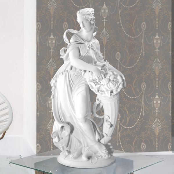 """Porzellanfigur """"Frau mit Füllhorn und Blumen"""" von Gustav Oppel aus Bisquitporzellan - Allegorie des Sommers"""