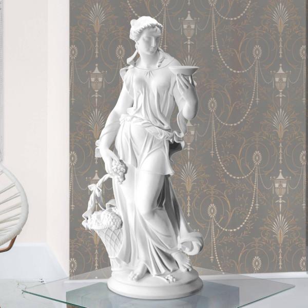 """Porzellanfigur """"Frau mit Trauben und Schale"""" von Gustav Oppel aus Bisquitporzellan - Allegorie des Herbstes"""