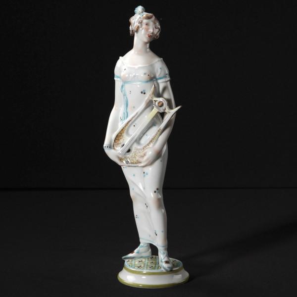 """Porzellanfigur """"Dame mit Lyra"""" von Paul Scheurich aus glasiertem Porzellan"""