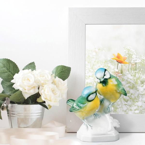 """Figurengruppe """"Meisengruppe"""" aus glasiertem Porzellan, farbig dekoriert"""