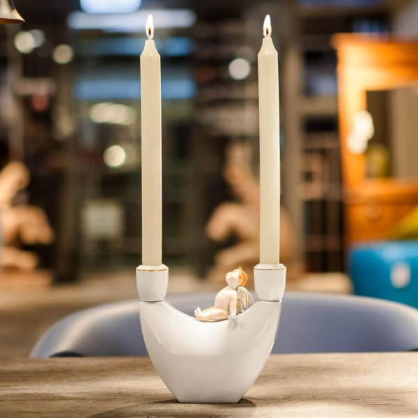 """Porzellan-Leuchter """"Eros"""" von Kati Zorn aus glasiertem Porzellan"""